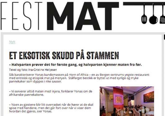 Omtale Horn of Africa, Festmat Bergen